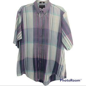 Burberry Plaid Short-sleeve Button-down Shirt-Lrg